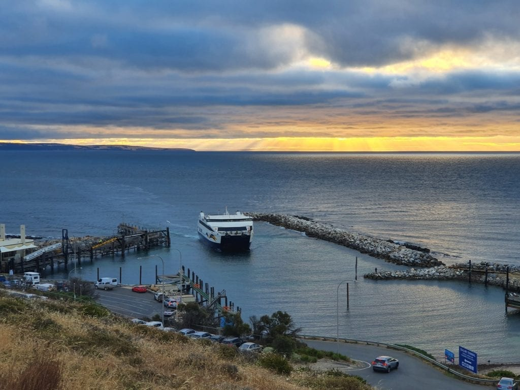 picture of ferry coking into shore- kangaroo island itinerary